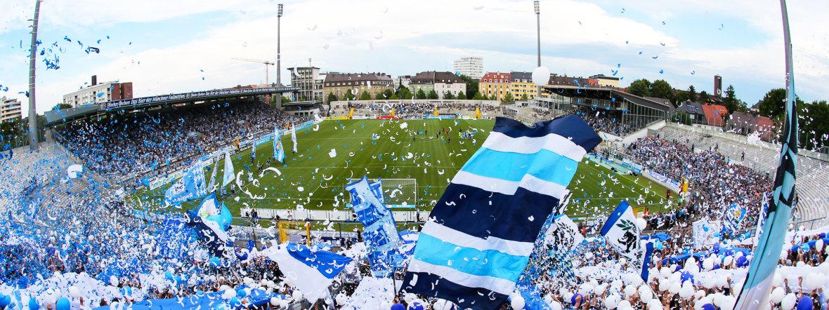 Jubelnde Fans des TSV 1860 München im Grünwalder Stadion, Foto: TSV 1860 München
