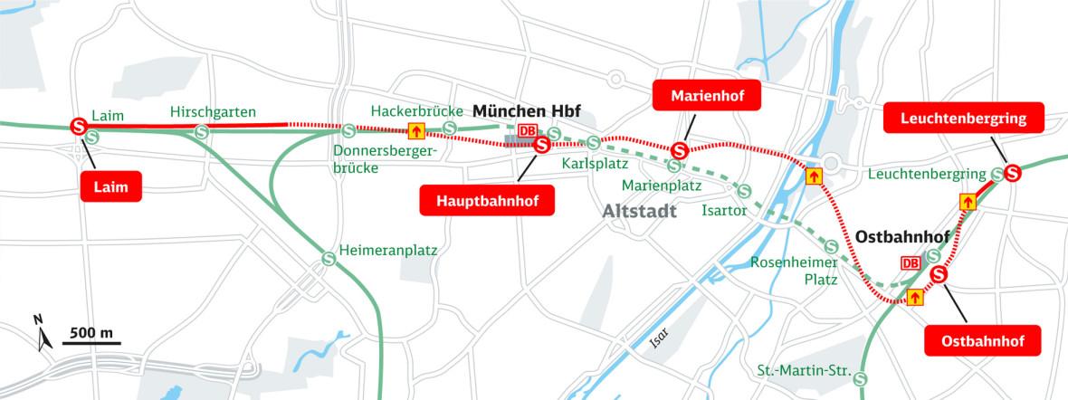 Der Verlauf der 2. Stammstrecke, Foto: Deutsche Bahn AG