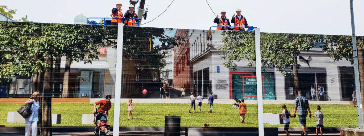 Errichtung der Schallschutzwand am Marienhof für die 2. Stammstrecke, Foto: DB Netz AG