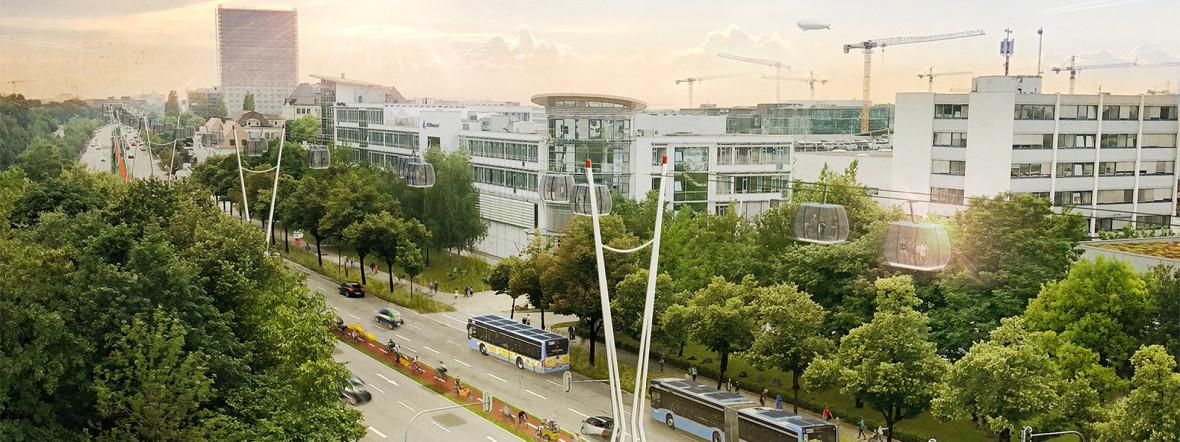 Neue Idee vorgestellt: Eine Urbane Seilbahn für München:, Foto: bauchplan ).(