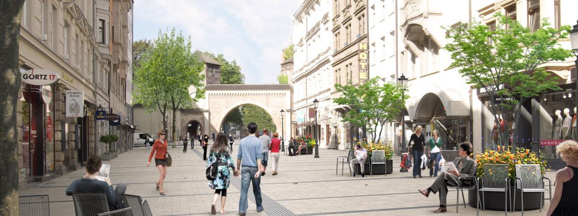 Fußgängerzone Sendlinger Straße, Foto: Baureferat München / Visualisierung