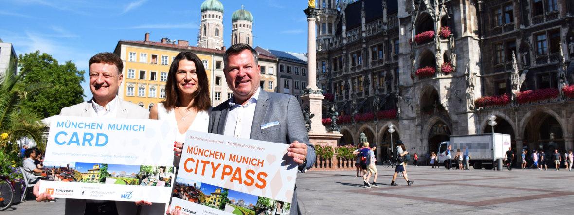 Prof Dr. Wolfgang Heckl, Wissenschaftsministerin Prof. Marion Kiechle und Bürgermeister Josef Schmid (v.l.) bei der Vorstellung von München Card und München City Pass, Foto: muenchen.de/Mark Read