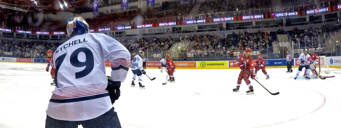 Spielszene im Match Minsk gegen den EHC., Foto: Red Bull / Gepa Pictures