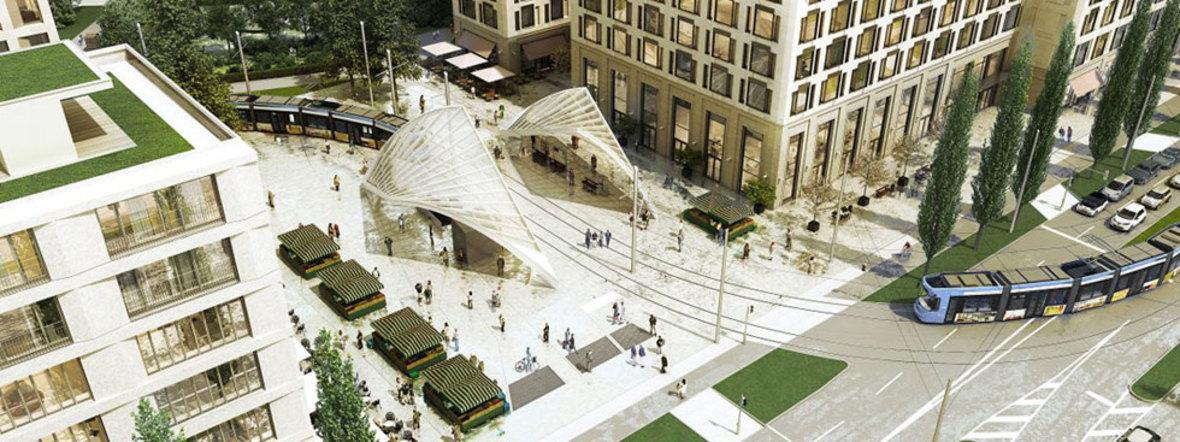 Visualisierung: Einbettung der Tramhaltestelle am Schwabinger Tor in das architektonische Gesamtkonzept des neuen Stadtquartiers, Foto: Jost Hurler Gruppe