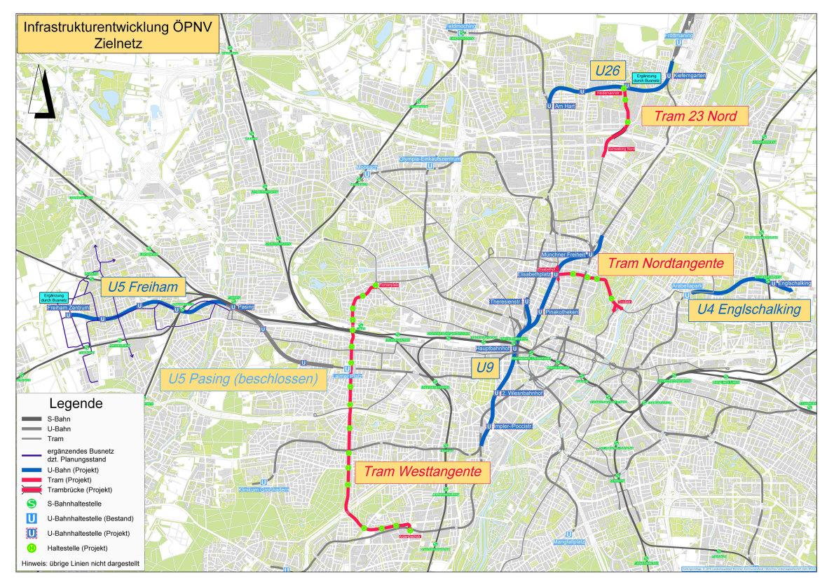 Übersicht mit geplanten Neubau-Projekten für den Münchner Nahverkehr
