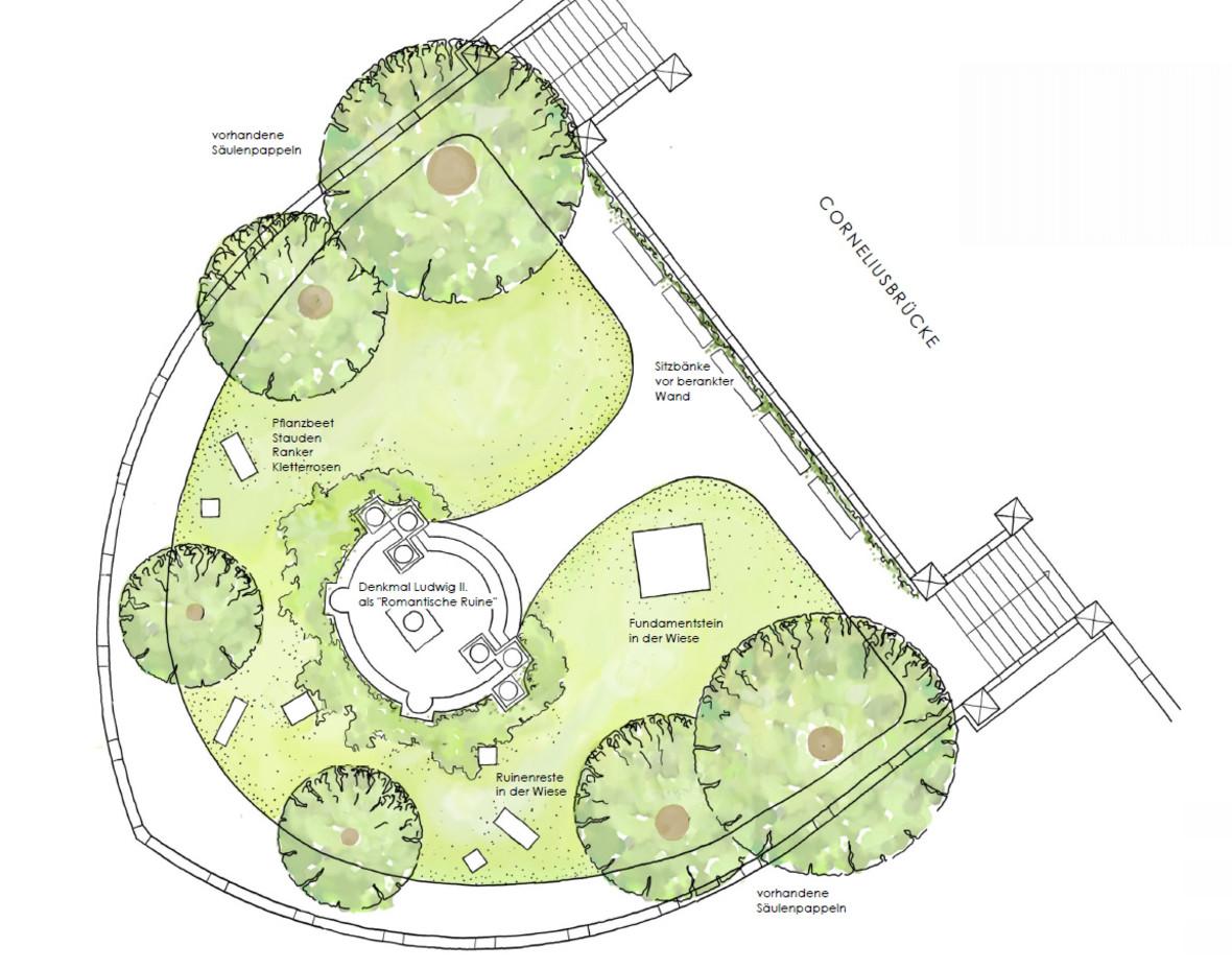 Grundriss des geplanten Denkmals für König Ludwig II., Foto: Christine Stüber, LandschaftsArchitektin für Baureferat München
