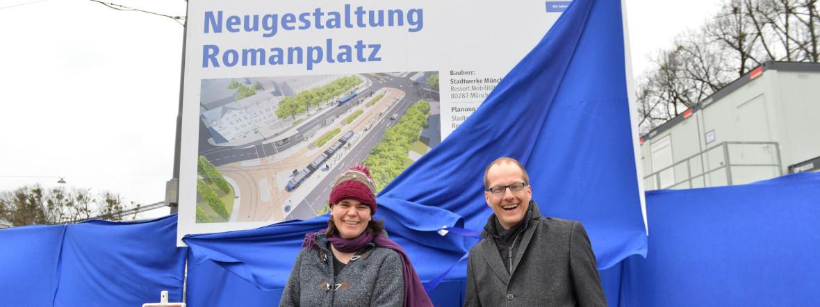 Anna Hanusch, Vorsitzende des Bezirksausschusses 9 Neuhausen-Nymphenburg und Arne Petersen, Geschäftsbereichsleiter Verkehrsinfrastruktur bei SWM und MVG, Foto: SWM/MVG