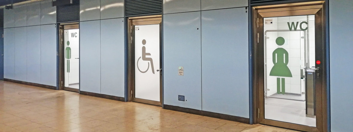 Öffentliche WCs im U-Bahnhof Max-Weber-Platz, Foto: muenchen.de/Leonie Liebich