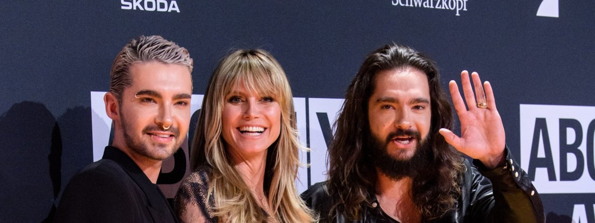 Heidi Klum mit den Kaulitz-Brüdern, Foto: dpa/Matthias Balk