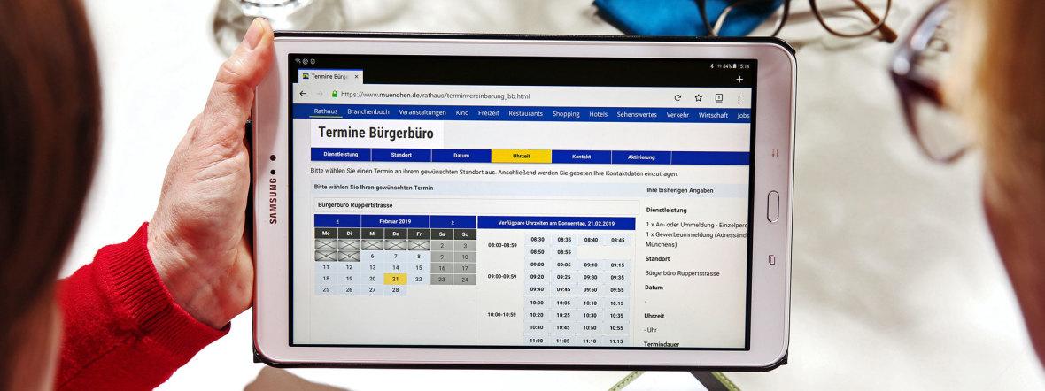 Online-Terminvergabe des Bürgerbüros, Foto: Michael Nagy, LHM