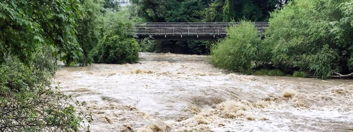 Isar-Hochwasser am Flaucher - 29.7.2019, Foto: muenchen.de/Anette Göttlicher