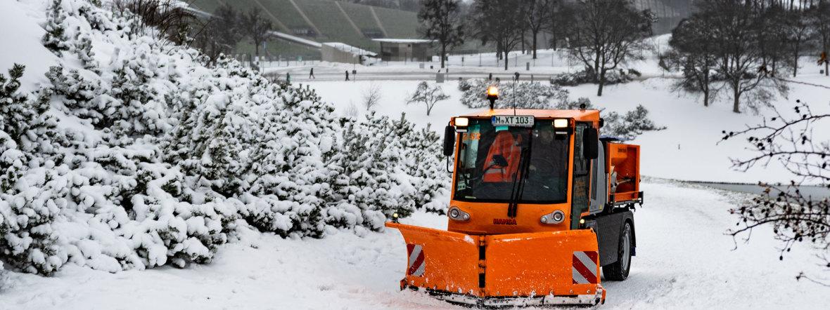 Winterdienst im Olympiapark, Foto: muenchen.de/Michael Hofmann