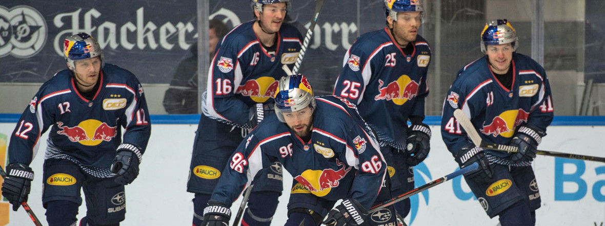 Jubel beim EHC im Spiel gegen Düsseldorf., Foto: Red Bull / Gepa Pictures