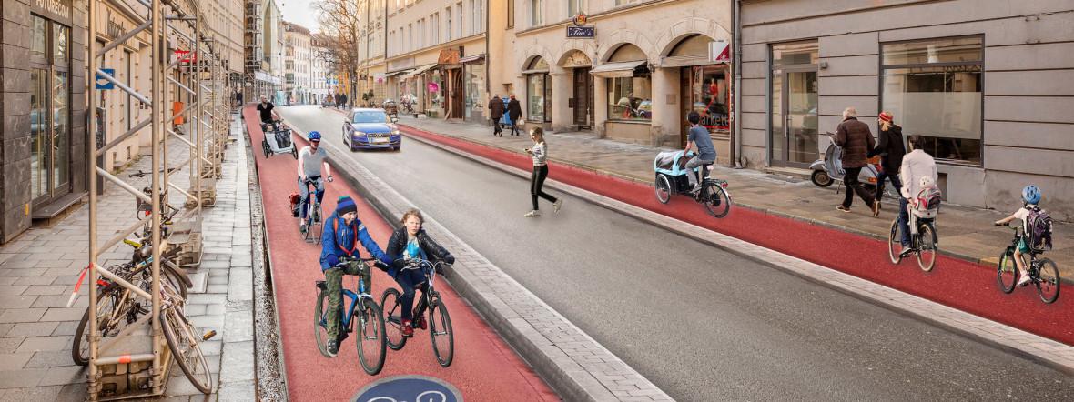 So soll die Frauenstraße laut ADFC-Studie nach dem Umbau aussehen, Foto: Illustration: Andreas Gregor
