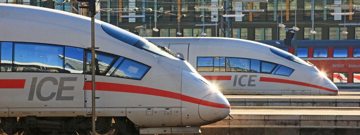 ICE-Züge am Münchner Hauptbahnhof, Foto: Deutsche Bahn AG / Uwe Miethe