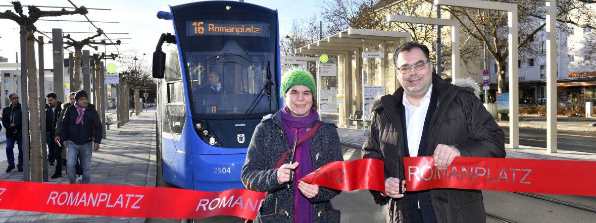 Eröffnung der Tramhaltestelle Romanplatz, Foto: SWM/MVG