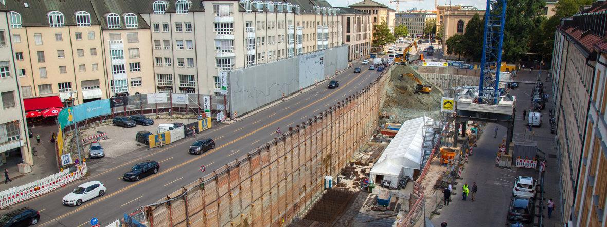 Bauarbeiten für die Tiefgarage Tom & Hilde am Thomas-Wimmer-Ring, Foto: Bernd Ducke