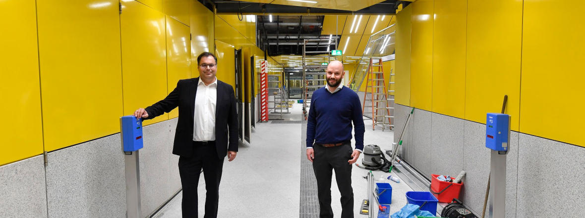 MVG Chef Ingo Wortmann (li) und Projektleiter Andreas Schmid vor Ort., Foto: SWM/MVG