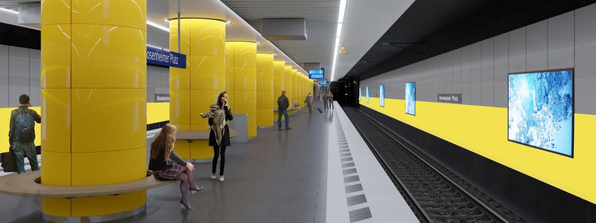 So soll die S-Bahn-Station Rosenheimer Platz bald aussehen., Foto: Deutsche Bahn AG