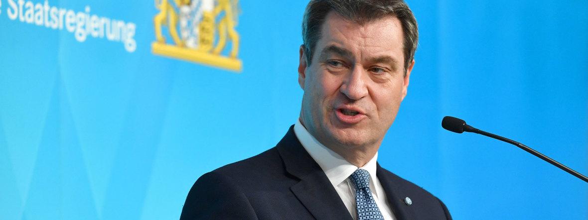 Ministerpräsident Markus Söder bei einer Pressekonferenz, Foto: picture alliance / Sven Simon