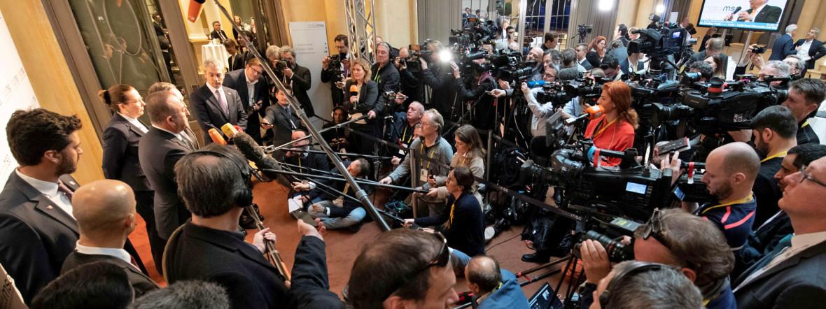 Eine Pressekonferenz bei der SiKo 2020., Foto: MSC / Hentschel