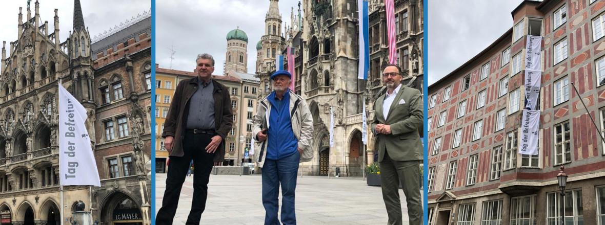 von links: Künstler Michael Wladarsch, Wolfram P. Kastner mit Kulturreferent Anton Biebl