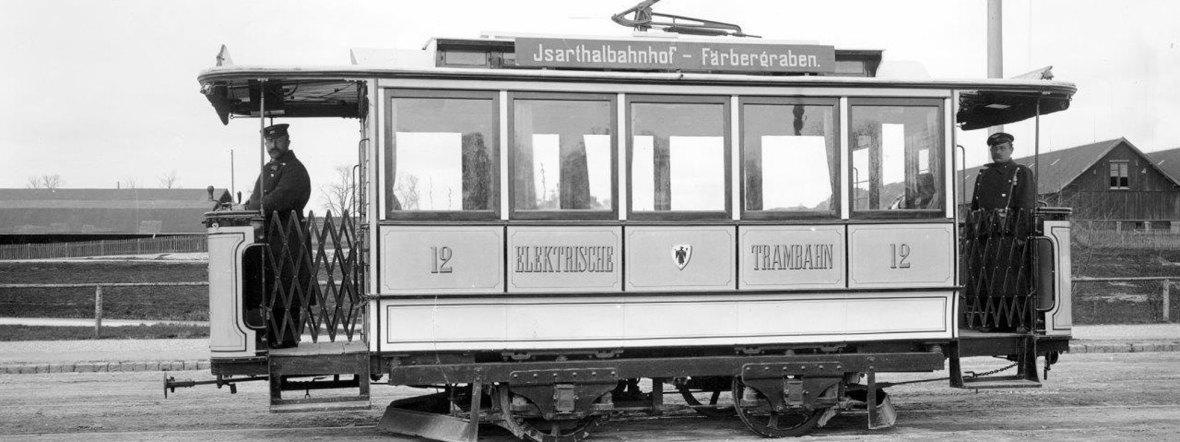 Elektrische Tram in München im Jahr 1895, Foto: Archiv FMTM