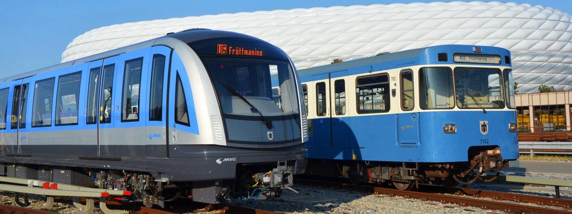 Neue U-Bahn vom Typ C2 und alte U-Bahn vom Typ A vor der Allianz Arena, Foto: SWM/MVG