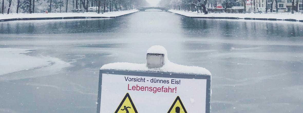 Hinweisschild am Nymphenburger Kanal, Foto: Anette Göttlicher