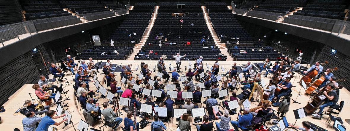 Erste Akustikproben der Münchner Philharmoniker in der neuen Isarphilharmonie, Foto: Tobias Hase