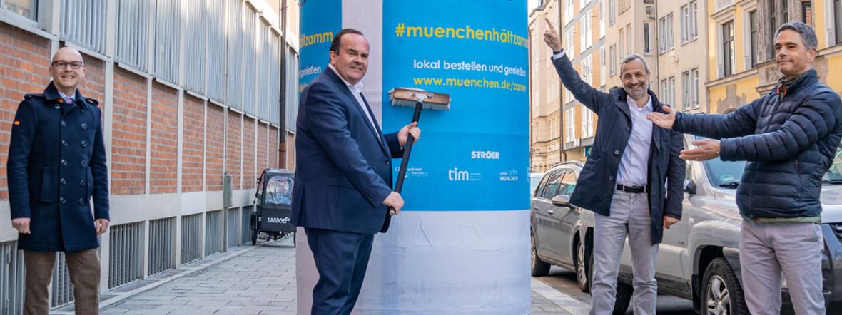 Start der Plakataktion zu #muenchenhältzamm 2021, Foto: Rico Güttich