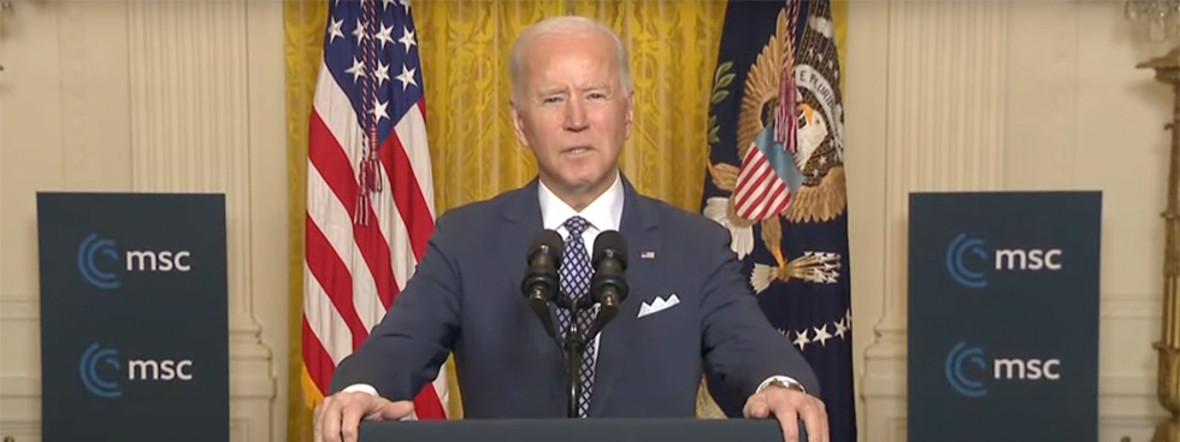 Joe Biden spricht bei der MSC Special Edition, Foto: Screenshot Youtube/Munich Security Conference