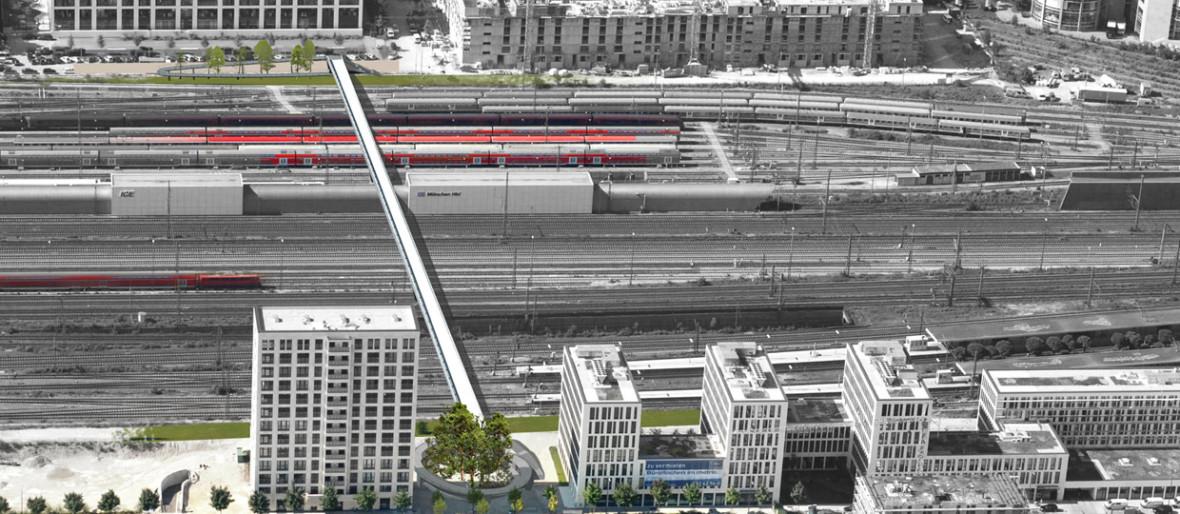 Visualisierung der Fuß- und Radwegbrücke über die Bahngleise am Arnulfpark, Foto: SSF Ingenieure mit Lang Hugger Rampp Architekten