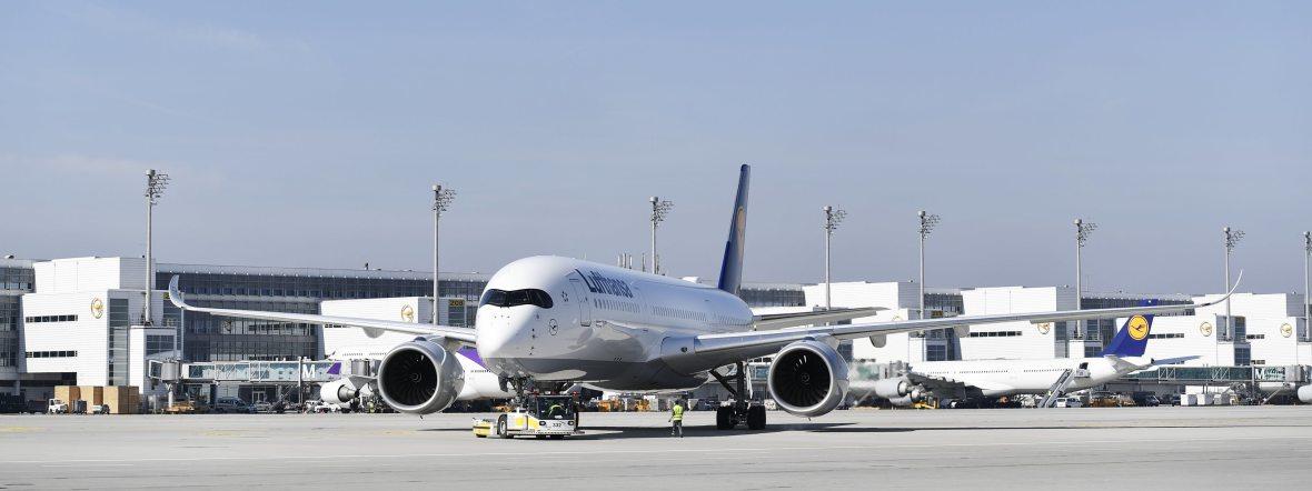 Flugzeug am Flughafen München, Foto: Flughafen München