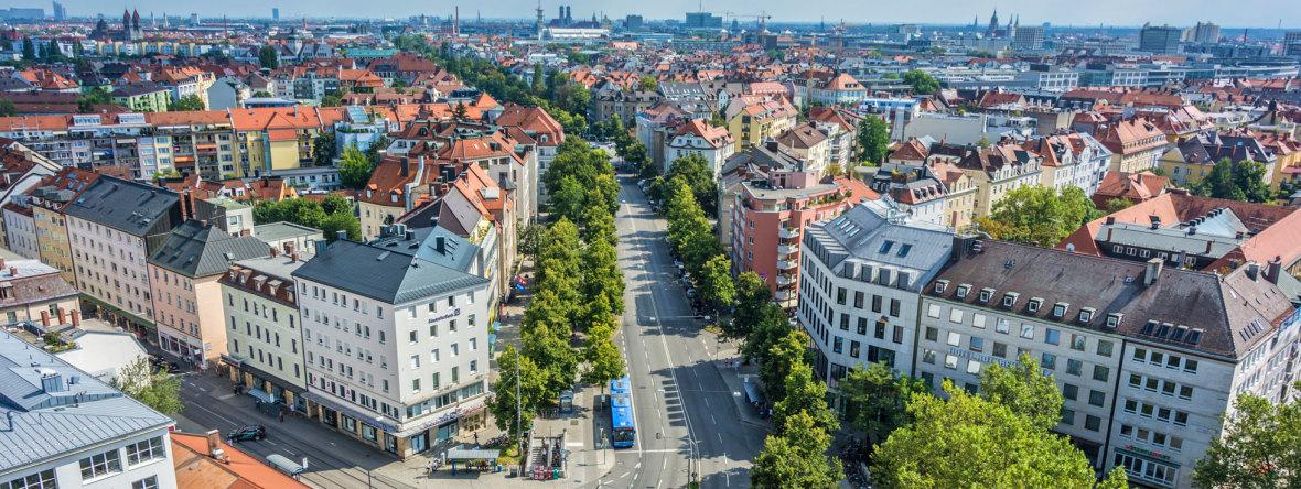 Panorama - Neuhausen Richtung Innenstadt, Foto: muenchen.de/Michael Hofmann