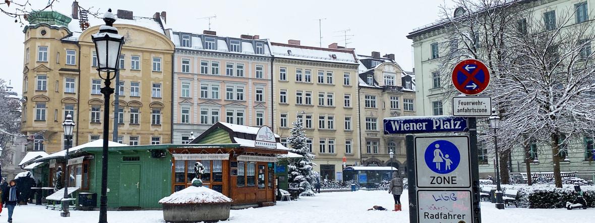 Der Markt am Wiener Platz in Haidhausen im Winter, Foto: Anette Göttlicher