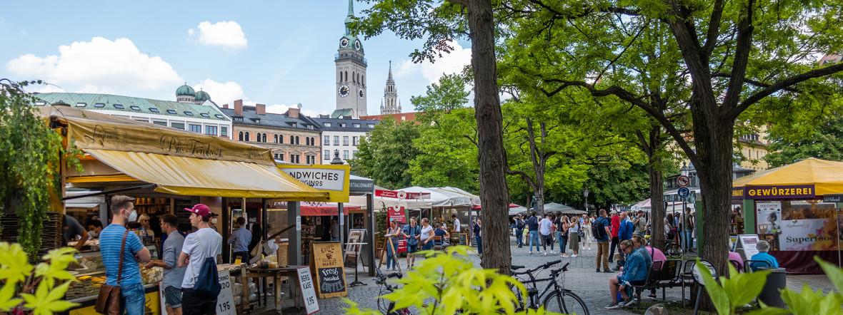Der Viktualienmarkt im Sommer, Foto: Anette Göttlicher