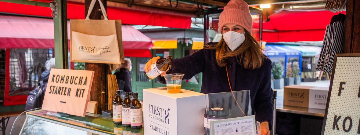 First8 Kombucha auf dem Viktualienmarkt, Foto: Anette Göttlicher