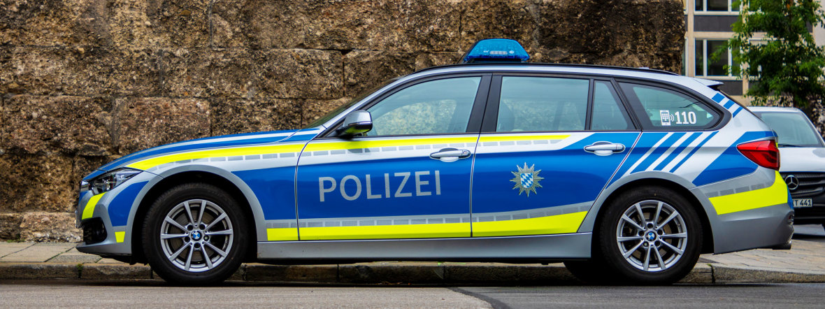 Ein Polizeiauto in München