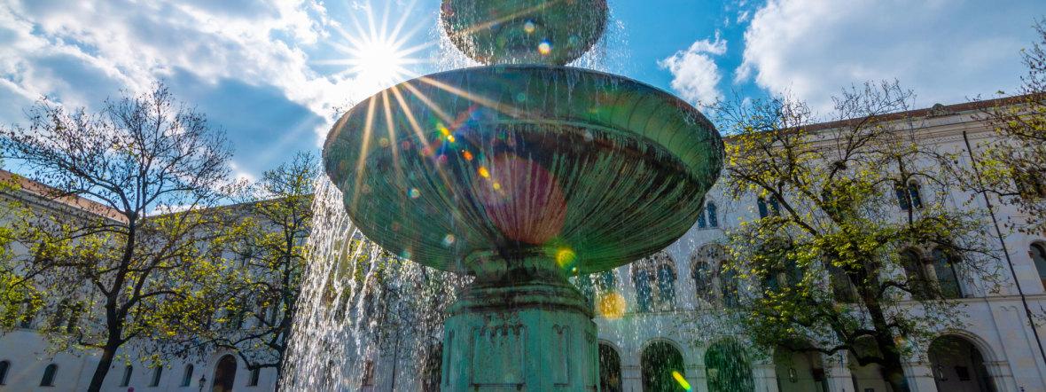 Unibrunnen am Geschwister-Schloss-Platz, Foto: muenchen.de/ Michael Hofmann