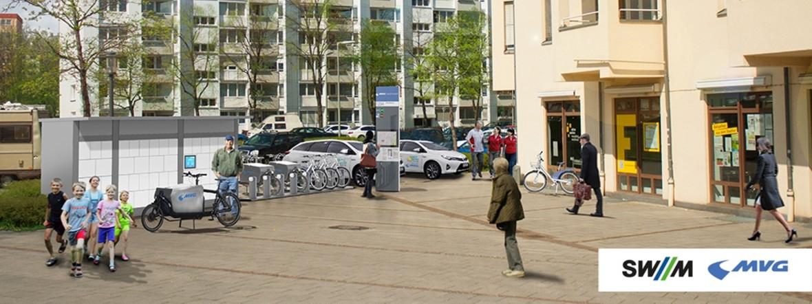 Visualisierung Mobilitätsstation/Quartiersbox, Foto: SWM