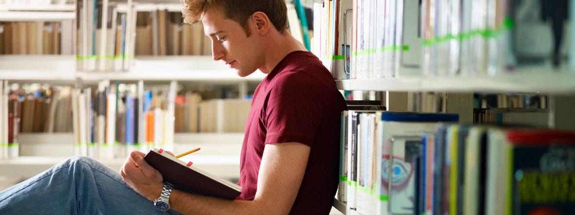 Student liest in Bibliothek, Foto: Diego Cervo/Shutterstock.com