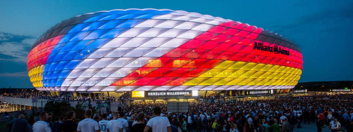 Arena außen Fans Deutschland gegen Frankreich, Foto: München Tourismus