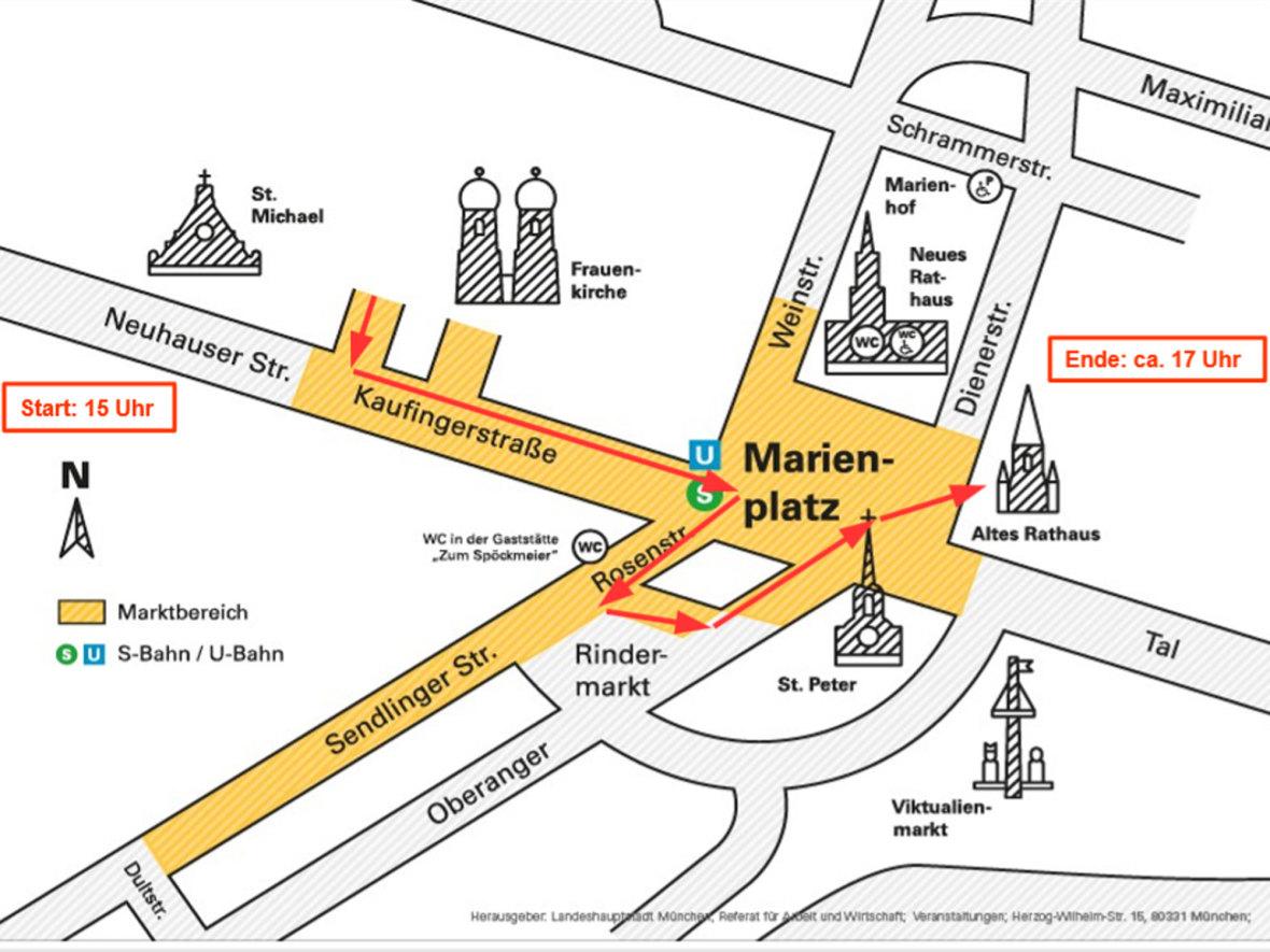 Laufweg großer Krampuslauf (rote Linie), Foto: Referat für Arbeit und Wirtschaft