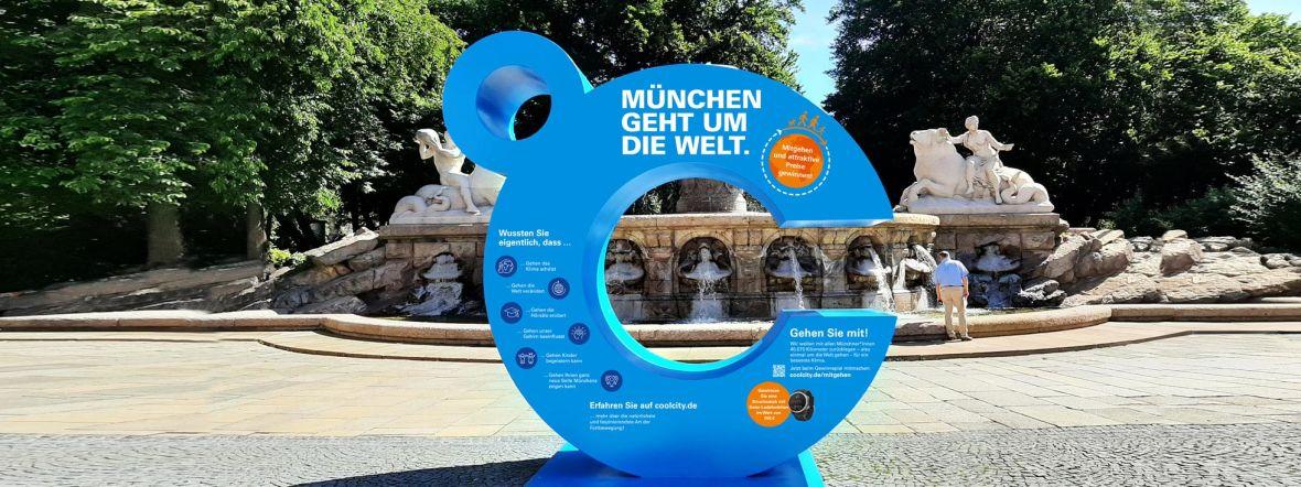 Blaues C von München Cool City vor dem Wittelsbacher Brunnen, Foto: München Cool City