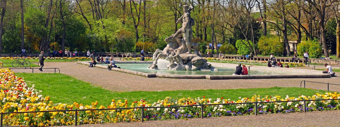 Der Alte Botanische Garten in der Sonne im Frühling, Foto: muenchen.de/Leonie Liebich